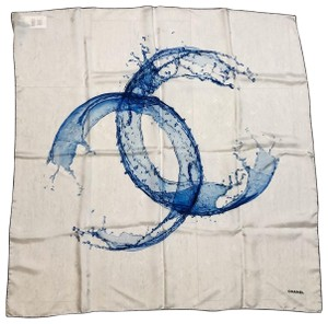 Chanel CC Logo Water Print Silk Scarf/Wrap