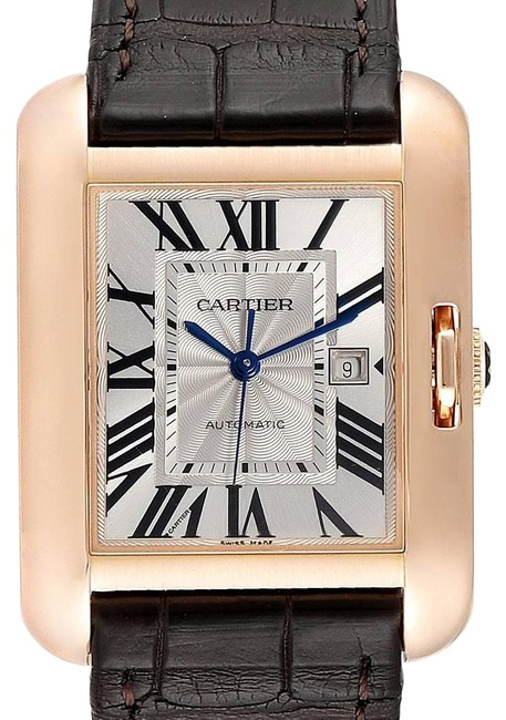 Item - Silver Guilloche Tank Anglaise Rose Gold Brown Strap Ladies W5310005 Watch