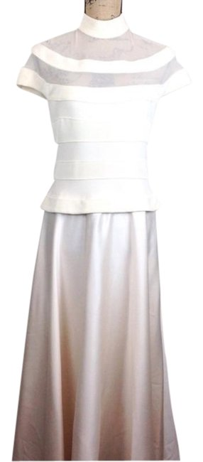 Item - Cream & Ivory Classic Long Formal Dress Size 8 (M)