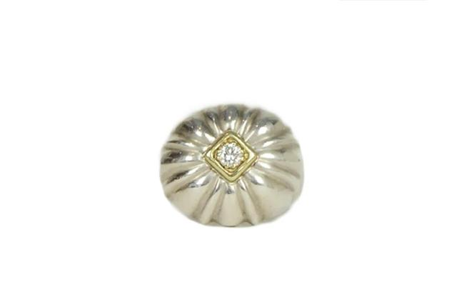 Item - Silver Sterling Flower with Center Diamond & Gold 6.25 Ring