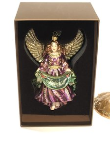 Jay Strongwater Jay Strongwater - Joy to the World Angel Glass Ornament and Base