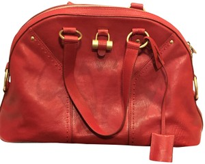 Saint Laurent Muse Leather Ysl Ysl Yves Satchel in Red