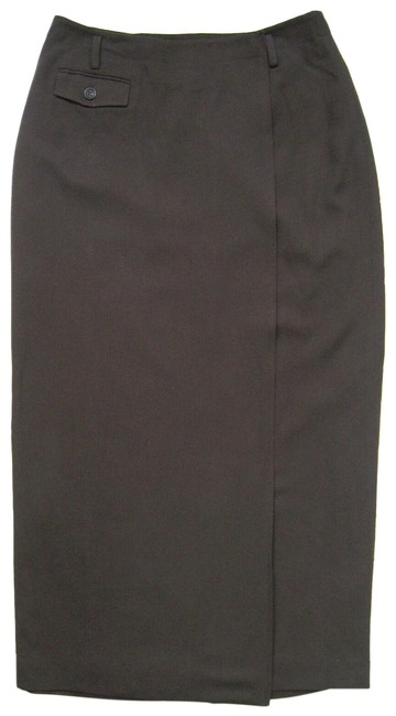 Item - Brown Straight Pencil Wrap Wool Belt Loops Lined Skirt Size 8 (M, 29, 30)