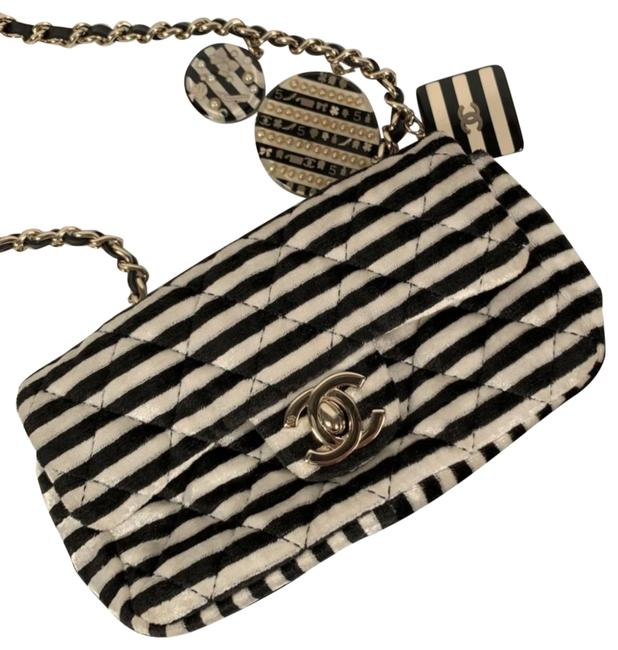 Item - Classic Flap Crossbody Mini Striped Velour with Charms Multicolor Lambskin Leather Shoulder Bag
