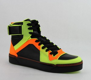 Gucci Orange/Green/Black Men's Neon Leather High-top Sneakers 11g / Us 12 386738 7170 Shoes