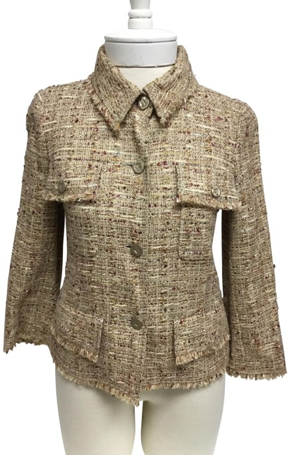 Item - Gold Beige and Tweed Jacket with Logo Buttons Blazer Size 6 (S)