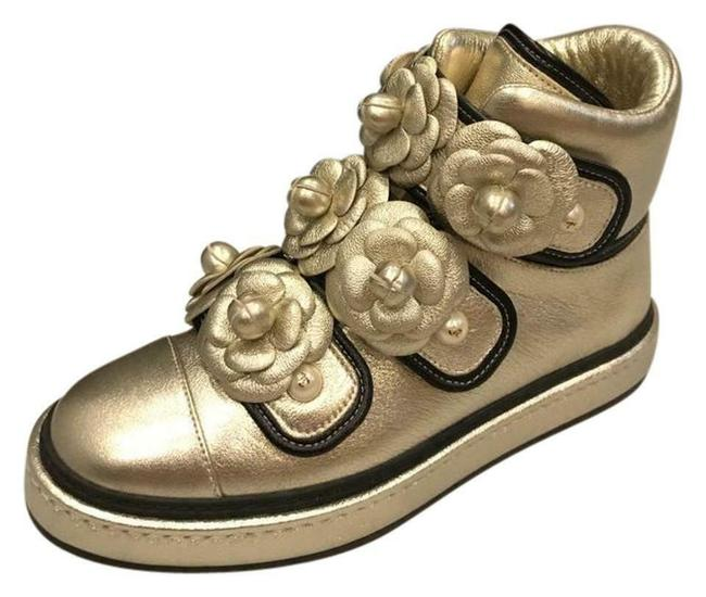 Item - Gold Metallic Leather Camellia Pearl High Top Sneakers Flats Size US 4.5 Regular (M, B)