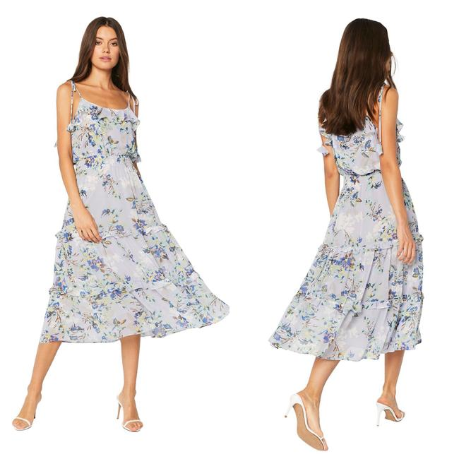 Item - Blue Tiered Ruffle Floral Midi Mid-length Cocktail Dress Size 8 (M)