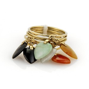 Modern Vintage Multi-Color Jade Heart Drop Charms 14k Yellow Gold 6 Stack Rings