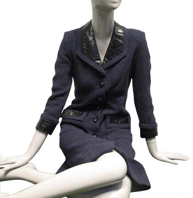Item - Navy Blue Cotton Tweed Top with Calfskin Insets Coat Size OS (one size)
