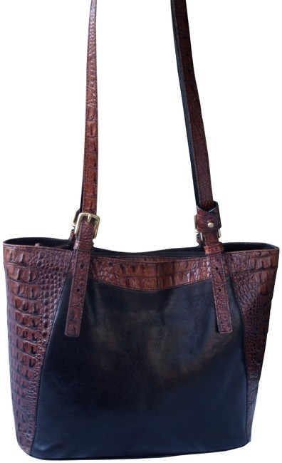 Brahmin Tuscan Collection Zip Croc Black and Brown Leather Tote Brahmin Tuscan Collection Zip Croc Black and Brown Leather Tote Image 1