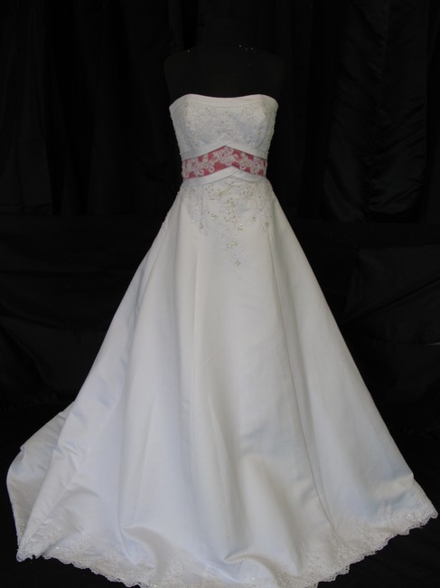Item - White/ Rose Satin A49214/ Modest Wedding Dress Size 4 (S)