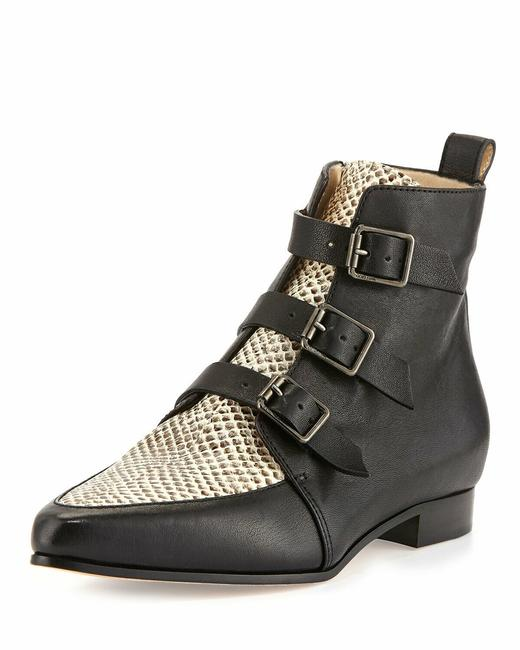 """Item - Black&white """"Marlin"""" Leather Python Vamp Ankle 39.5 S Boots/Booties Size US 9.5 Regular (M, B)"""