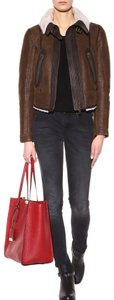 Burberry Lamb Shearling Aviator Brown Leather Jacket