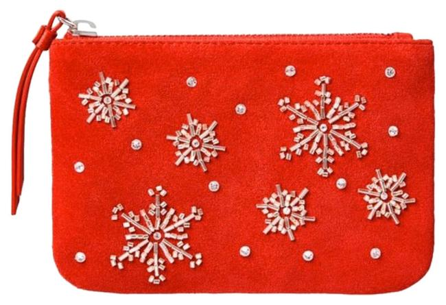 Item - Snowflakes Embellished Zip Top Pouch Red Wristlet