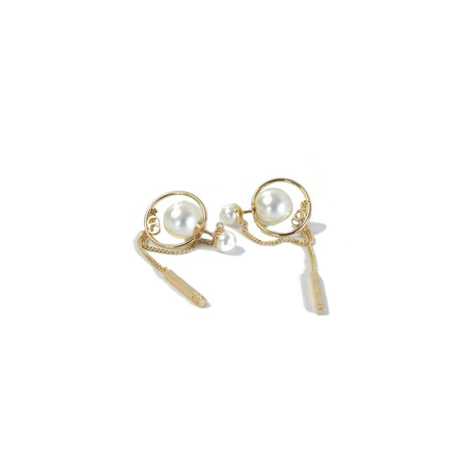 Item - Gold-tone Finish Metal Pearl with Long Block Chain Earrings