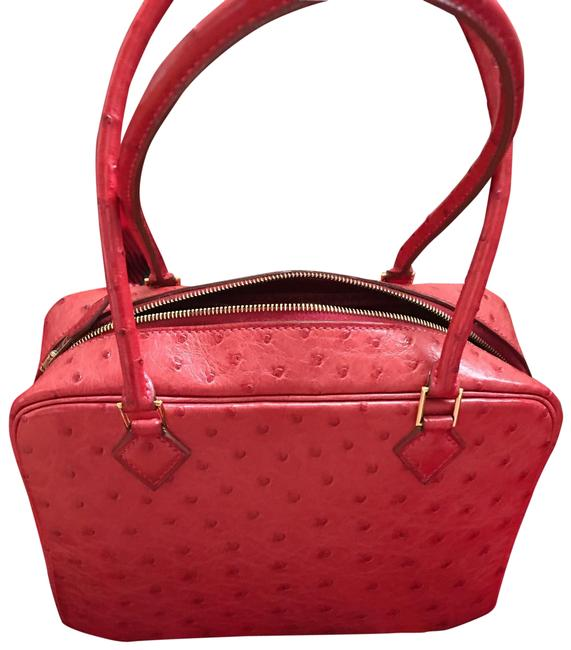 Item - Plume Red Ostrich Leather Satchel