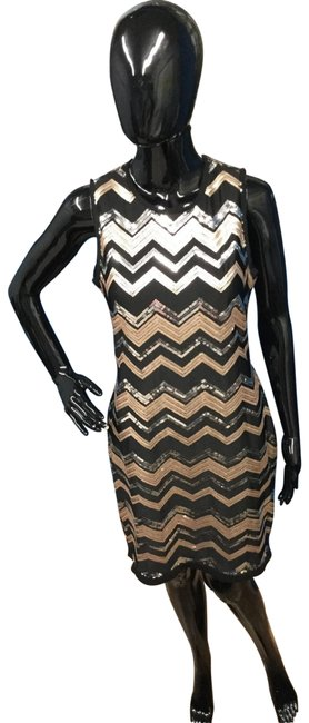 Item - Black/Silver/Gold Metallic Sequined Shift Mid-length Night Out Dress Size 8 (M)