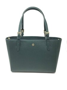 Tory Burch Saffiano Leather Emerson Tote in Jitney Green