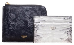 Céline Leather zipped pouch with removable lizard card holder case