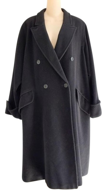 Item - Black Long Wool Angora Blend Coat Size 16 (XL, Plus 0x)