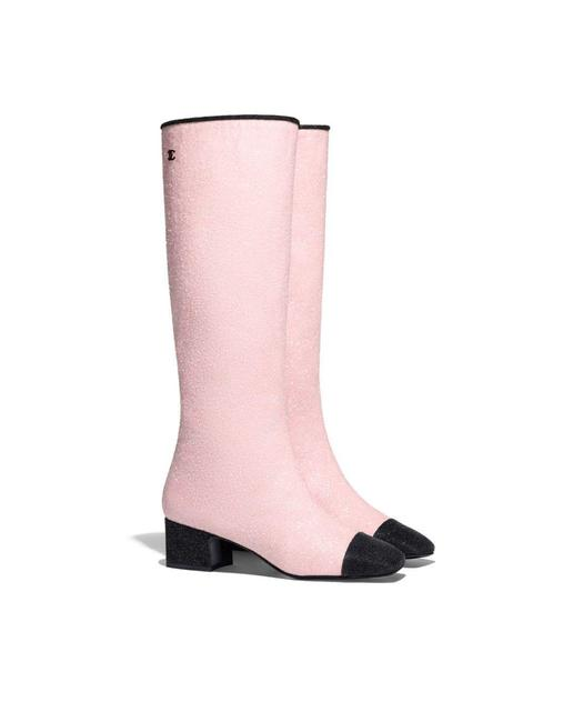 Item - Pink Glitter Knee High Cap Boots/Booties Size EU 39.5 (Approx. US 9.5) Regular (M, B)