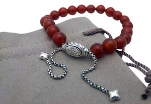 David Yurman DAVID YURMAN Red CARNELIAN & Sterling Silver Adjustable Bead Bracelet
