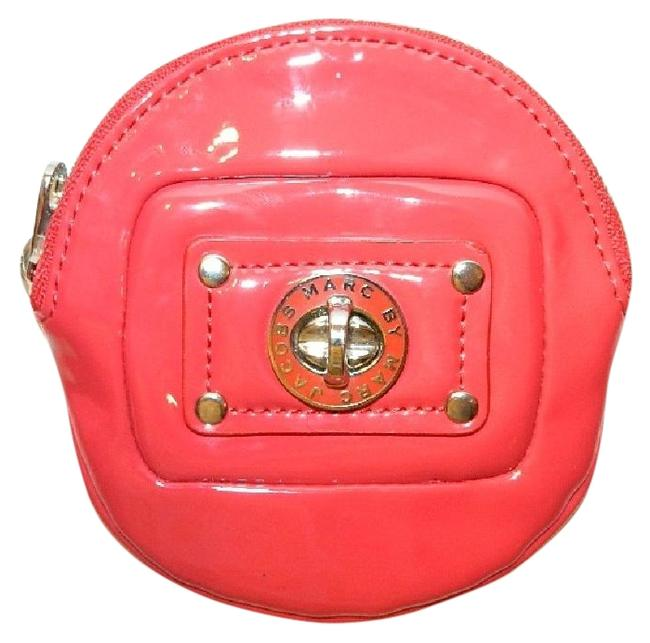 Item - Cute Red Coin Purse Keychain Bright Red-silver Patent Leather Clutch