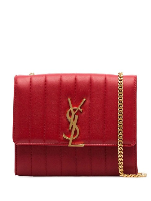 Item - Chain Wallet Vicky Lambskin Matelasse Rouge Eros Red Leather Cross Body Bag