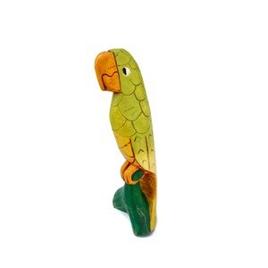 Yellow Jamaican Colorful Carved Wood Parrot Statue Decoration