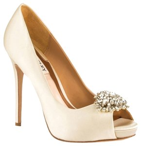 Badgley Mischka Jeannie Satin Dress Bridal Heels Heel Jeweled Box Size 7 Luxury Ivory Pumps