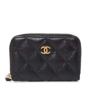 Chanel Chanel Black Quilted Leather Zipped Coin Purse