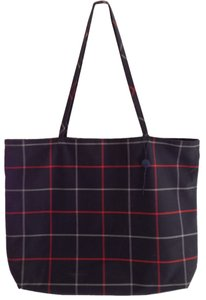 Burberry Tote in Navy Blue Plaid Red Grey