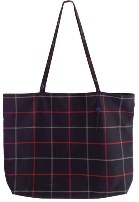 Item - Navy Blue Plaid Red Grey Cotton Tote