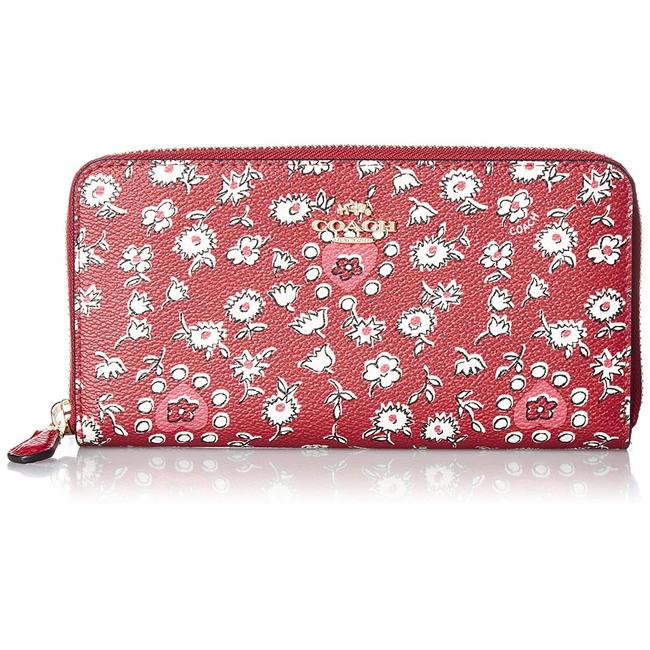 Coach Red Wild Heart Floral Printed Accordion Zip In Multi. F57832 Wallet Coach Red Wild Heart Floral Printed Accordion Zip In Multi. F57832 Wallet Image 1