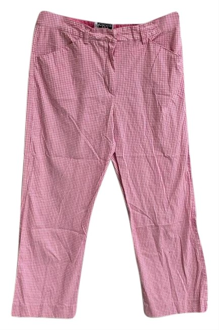 Item - Pink Womens White Checkered Gingham Pants Cropped. Condition Is Pre-owned. Shipped with Usps Capris Size 4 (S, 27)