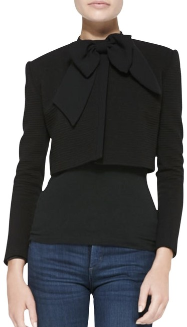 Item - Black Cropped Bow-neck Textured Cropped Jacket Size 8 (M)