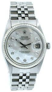 Rolex Mens Datejust Diamond Dial Stainless Steel Gold Watch