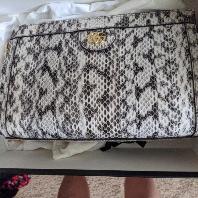 Gucci Grey and White Python Skin Leather Cross Body Bag Gucci Grey and White Python Skin Leather Cross Body Bag Image 1