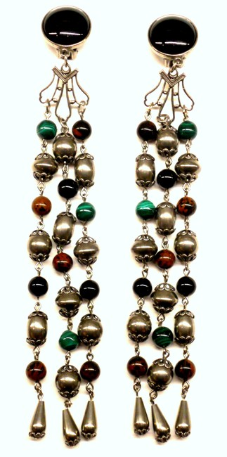 Item - Black Green Brown & Silver Super Long 7 Inch Earrings