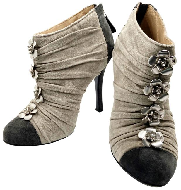 Item - Black Warm Grey Silver Camellia Suede Ankle Boots/Booties Size EU 36 (Approx. US 6) Wide (C, D)