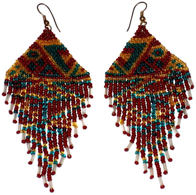 Item - Copper Green Gold White Unique Zig Zag Seed Bead Design Earrings