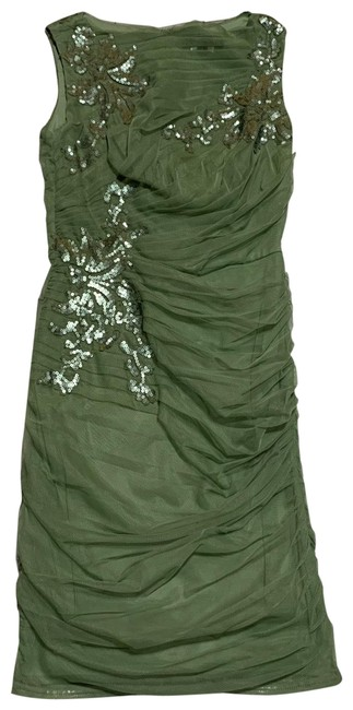 Item - Green Sleeveless Mesh Overlay Ruched with Sequins Mid-length Formal Dress Size 4 (S)