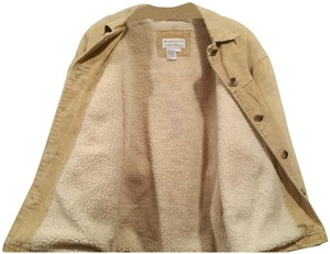 Brandon Thomas Sherpa/Quilt Lining Wale Corduroy Front Pockets Adustable Hem Tabs Sleeve Button Design Fur Coat