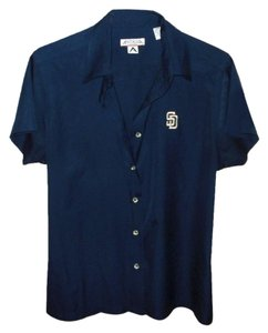 Antigua Performance Apparel Buttonup Collar Short Sleeve Baseball Button Down Shirt Blue