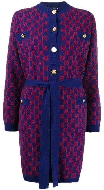 Gucci Blue/Orange Spk Wool Coat Size 8 (M) Gucci Blue/Orange Spk Wool Coat Size 8 (M) Image 1