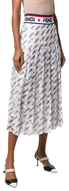 Item - White Blue Red Mania Pleated Skirt Size 0 (XS, 25)