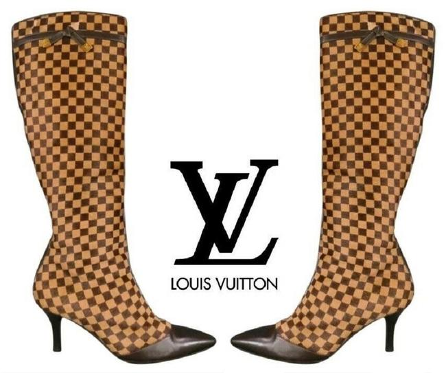 Item - Brown Vintage Ebene Checkered Damier Pony Hair 8 Boots/Booties Size EU 38 (Approx. US 8) Regular (M, B)