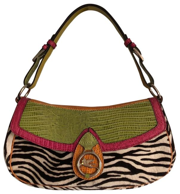 Item - Clutch Zebra Print Handbag Exotic Blk Wht Lime Pink Orange Mixed Pony Hair and Leather Satchel