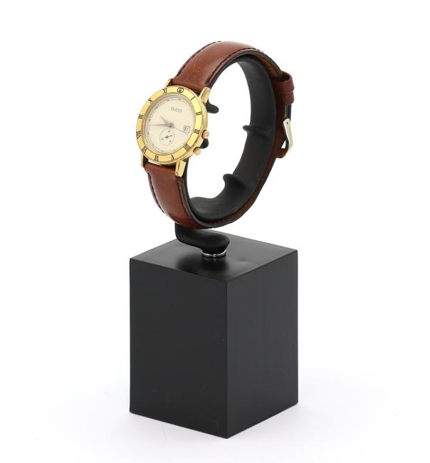 Item - Gold and Brown 3800 Jr 28mm Leather Quartz Date Watch